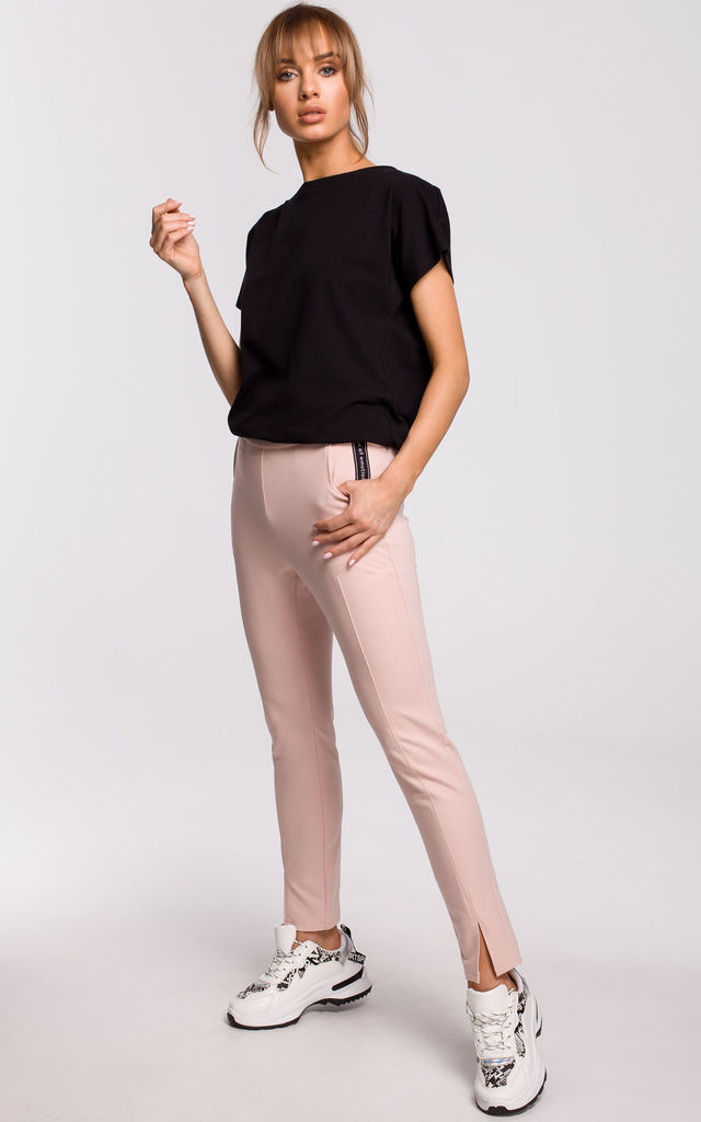 Cozy and Comfy Split Leg Joggers in Pink by MOE