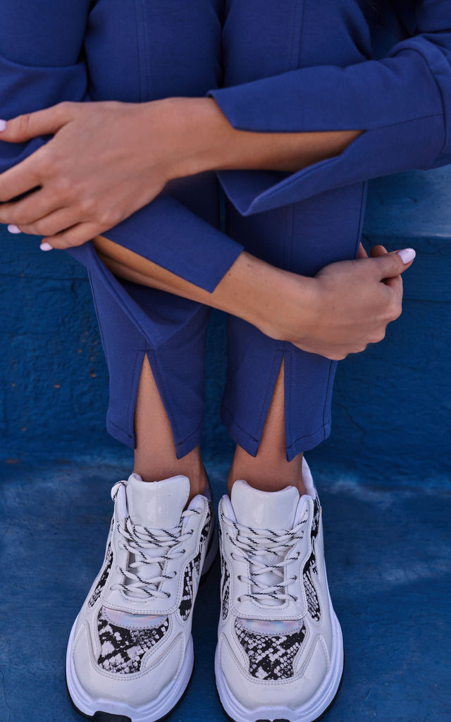 Cozy and Comfy Split Leg Joggers in Blue by MOE