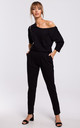 Cozy and Comfy Cotton Asymmetric Jumpsuit in Black by MOE