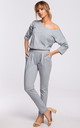 Cozy and Comfy Cotton Asymmetric Jumpsuit in Grey by MOE
