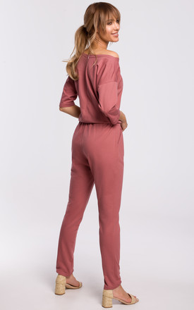 Cozy and Comfy Cotton Asymmetric Jumpsuit in Pink by MOE