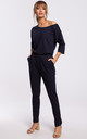 Cozy and Comfy Cotton Asymmetric Jumpsuit in Navy Blue by MOE