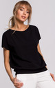 Cozy and Comfy Wrap Back Short Sleeved Top in Black by MOE