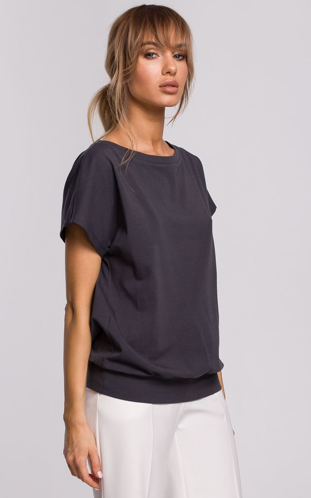 Cozy and Comfy Wrap Back Short Sleeved Top in Steel by MOE