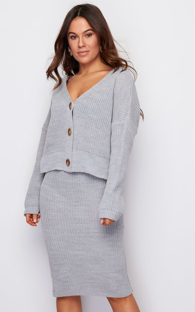 Aria 3 Button Long Sleeves Knit Cardigan Grey by Girl In Mind