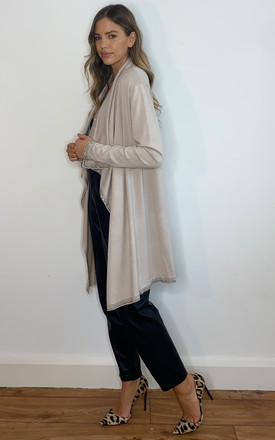 STONE OVERSIZED WATERFALL CARDIGAN WITH DIAMANTE EDGE by Malissa J Collection