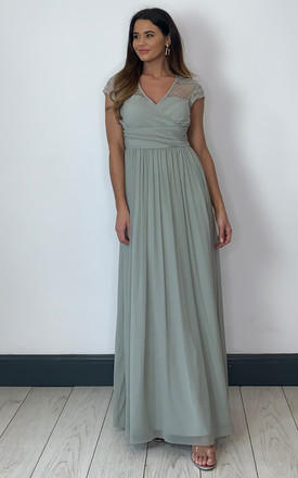 Light Green Lace top ruched maxi dress by Yumi