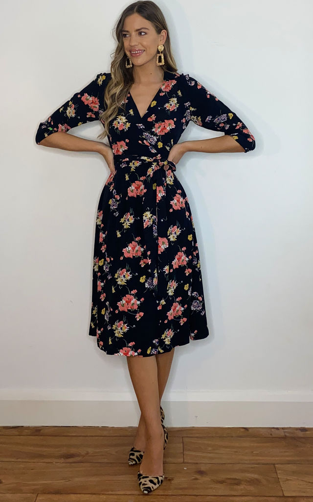 Loretta Wrap Dress in Black Floral Print by The Seamstress of Bloomsbury