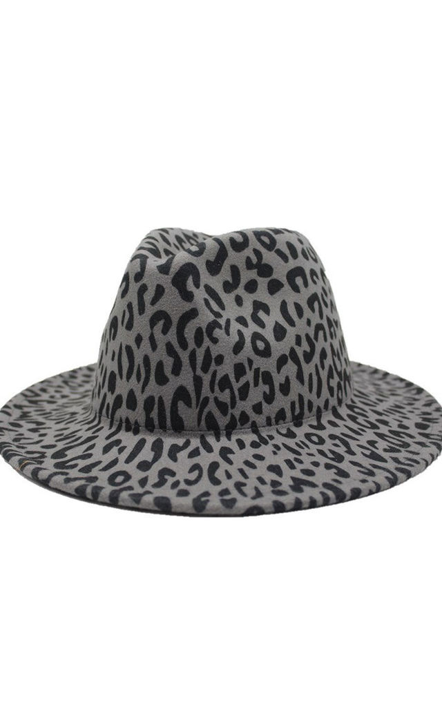 LEOPARD PRINT FEDORA HAT in Grey by LOES House