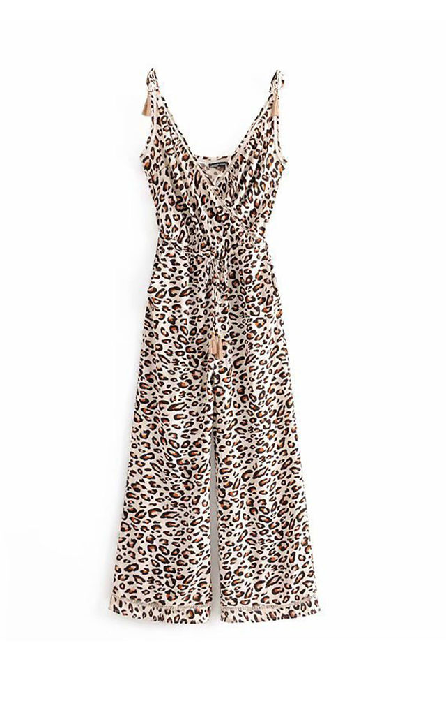 Leopard Print Jumpsuit With Wrap Top by FS Collection