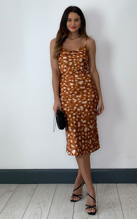 Slip Dress In Printed Burnt Orange by Bardot Product photo