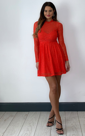Sara Lace Mini Dress In Red by Bardot Product photo
