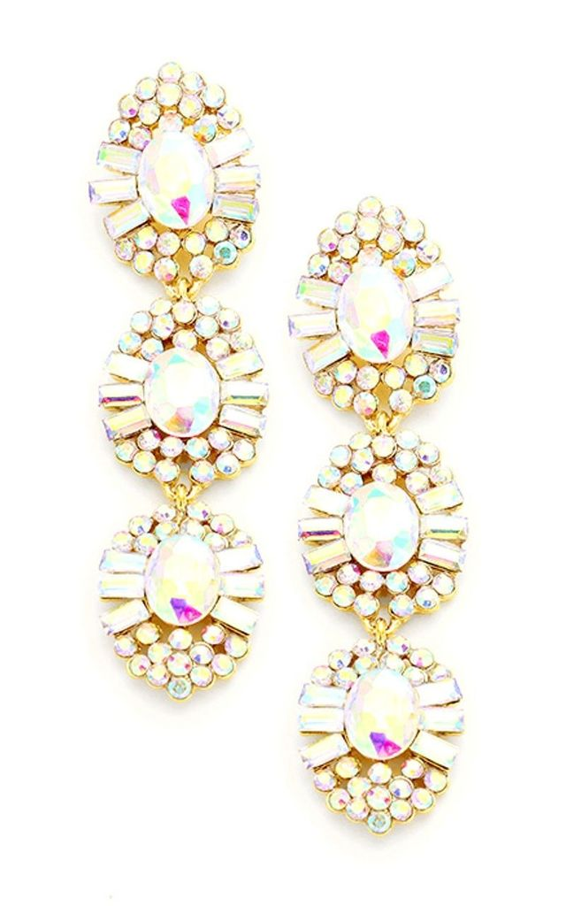 AB Crystal Three Tier Drop Prom Earrings by Olivia Divine Jewellery