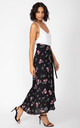 Maxi Wrap Skirt in Black Floral Print by likemary