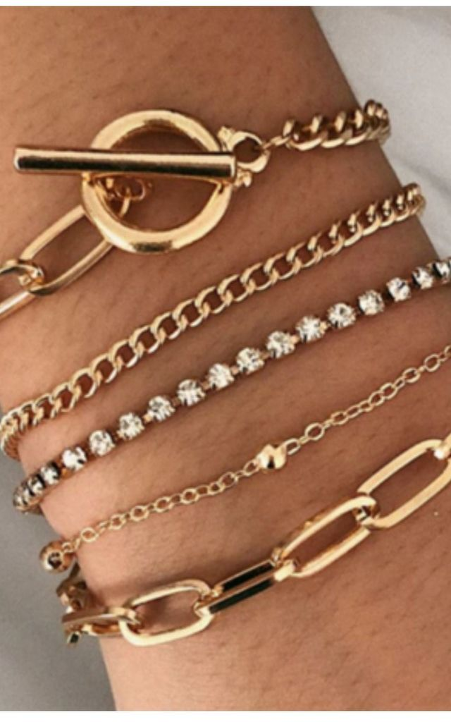Pack of 5 | Lux Gold Toggle Diamante Bracelet set by GIGILAND