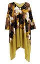 Leopard and Chain Print Asymmetric Kaftan Dress Top in Mustard by LOES House