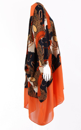 Leopard and Chain Print Asymmetric Kaftan Dress Top in Orange by LOES House