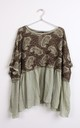 OVERSIZED PAISLEY KNITTED LINEN TOP IN GREEN by LOES House