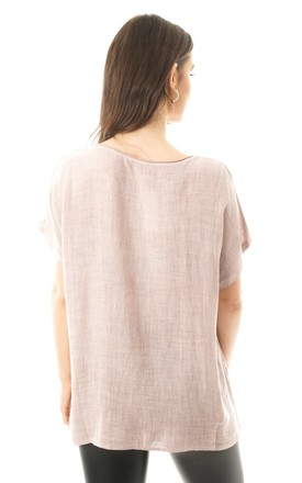 DRAGONFLY DESIGN LINEN LACE INSERT TOP IN PINK by LOES House