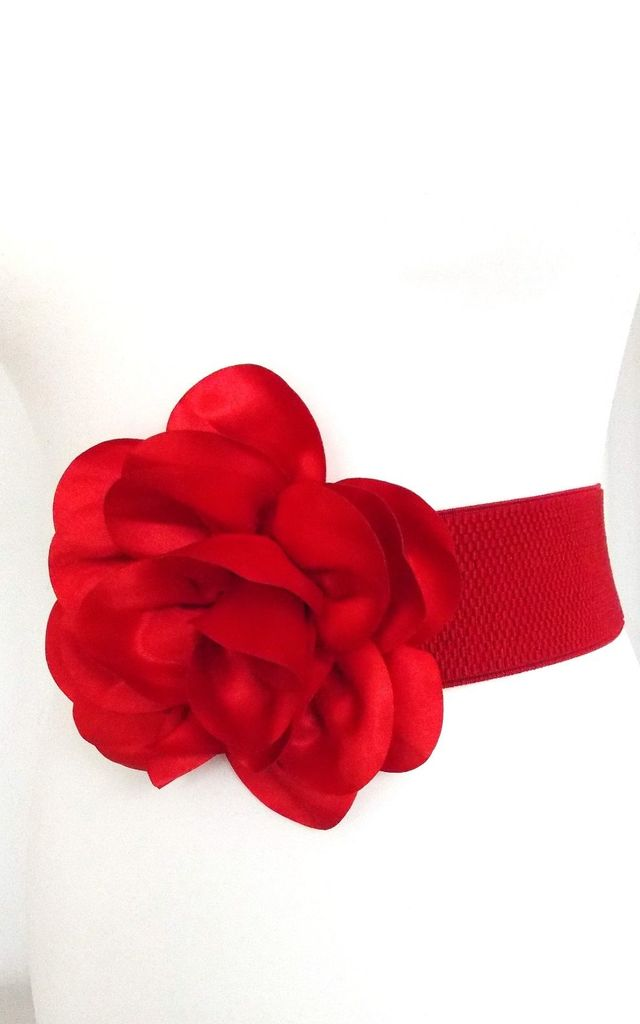 Red Rose Stretch Belt by Olivia Divine Jewellery