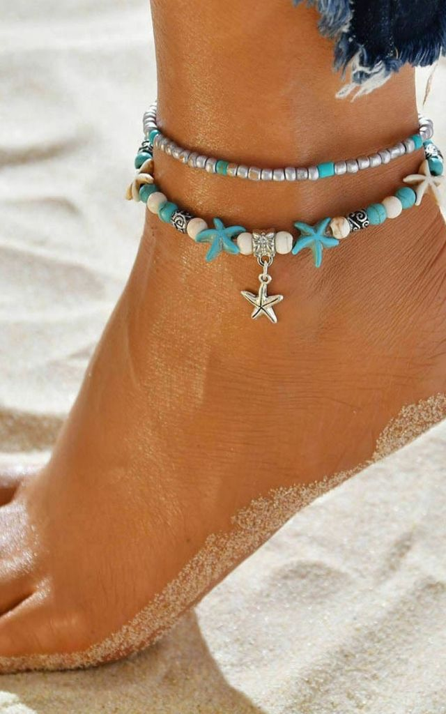 Pack of 2 | Boho Turquoise Starfish Silver Bead Anklets by GIGILAND