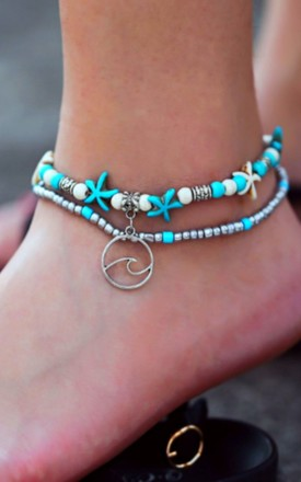 2 Layer Boho Turquoise Wave Silver Bead Anklet by GIGILAND