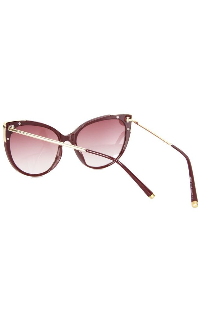 CAT EYE METAL DETAIL EDGES SUNGLASSES IN WINE by LOES House