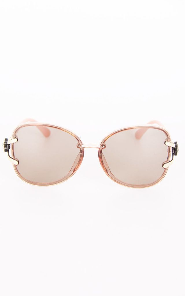 DESIGNER OVERSIZED CAT EYE SUNGLASSES IN PEACH by LOES House