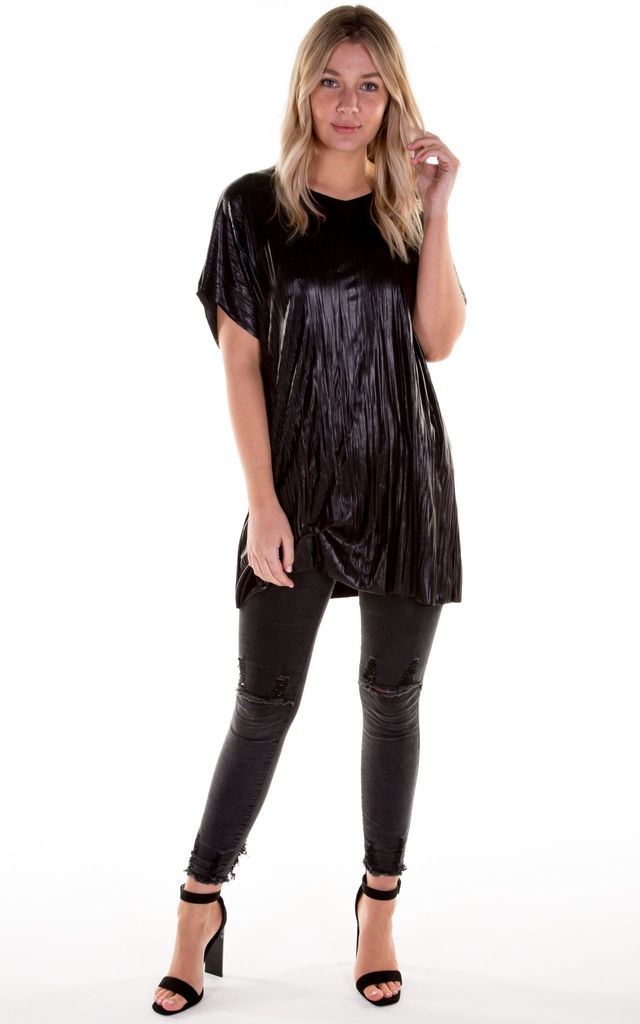 Leather Look Hitched T-Shirt Dress by Blonde And Wise