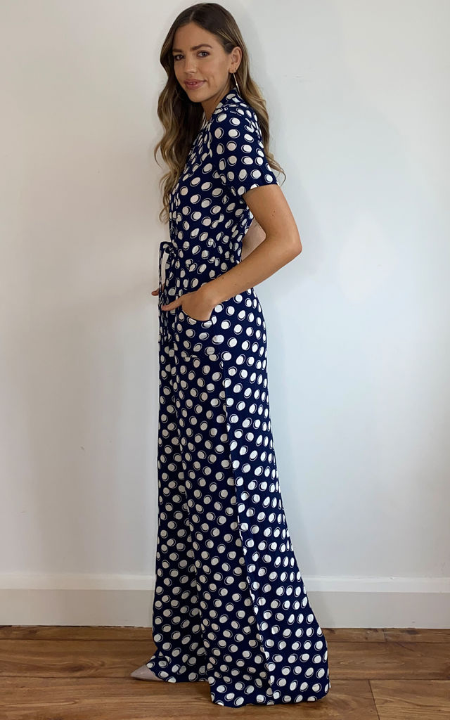 Lauren Jumpsuit in Navy Moonshine Polka Dot Print by The Seamstress of Bloomsbury