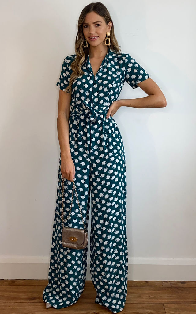 Lauren Jumpsuit in Green Moonshine Polka Dot with Tie Waist by The Seamstress of Bloomsbury