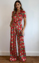 Lauren Jumpsuit in Red Atomic Satin Print with Tie Waist by The Seamstress of Bloomsbury