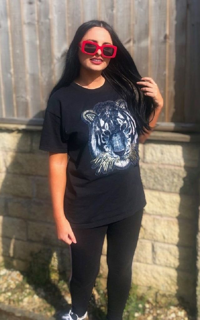 Black T-shirt With Sequin Tiger Motif by Fearless Alice Custom