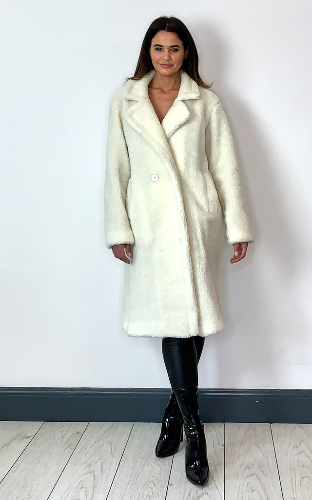 Jackie Cream Double Breasted Long Teddy Coat by De La Creme Fashions