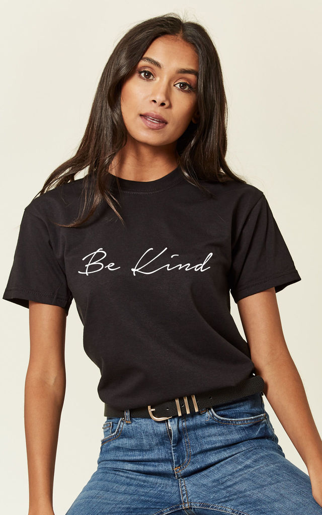 Black Loungewear Tshirt With Be Kind Slogan by Love