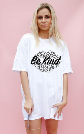 White Oversize Tshirt Print With Be Kind Monochrome Slogan by Sade Farrell