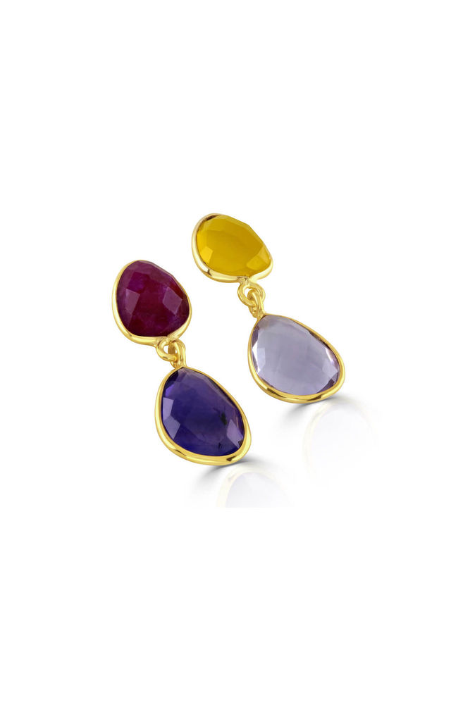Jamun Mismatch Amethyst, Ruby and Yellow Chalcedony Earrings by Sami