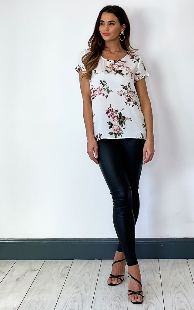 Short Sleeve Blouse in white floral by ONLY
