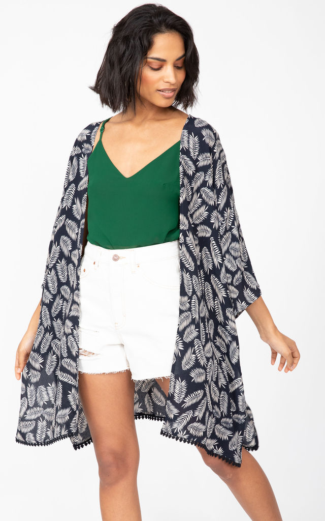 Kimono Cover Up with Lace Trim in Black & White Leaves by likemary
