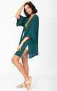 Kimono Cover Up with Fringing in Emerald Green by likemary