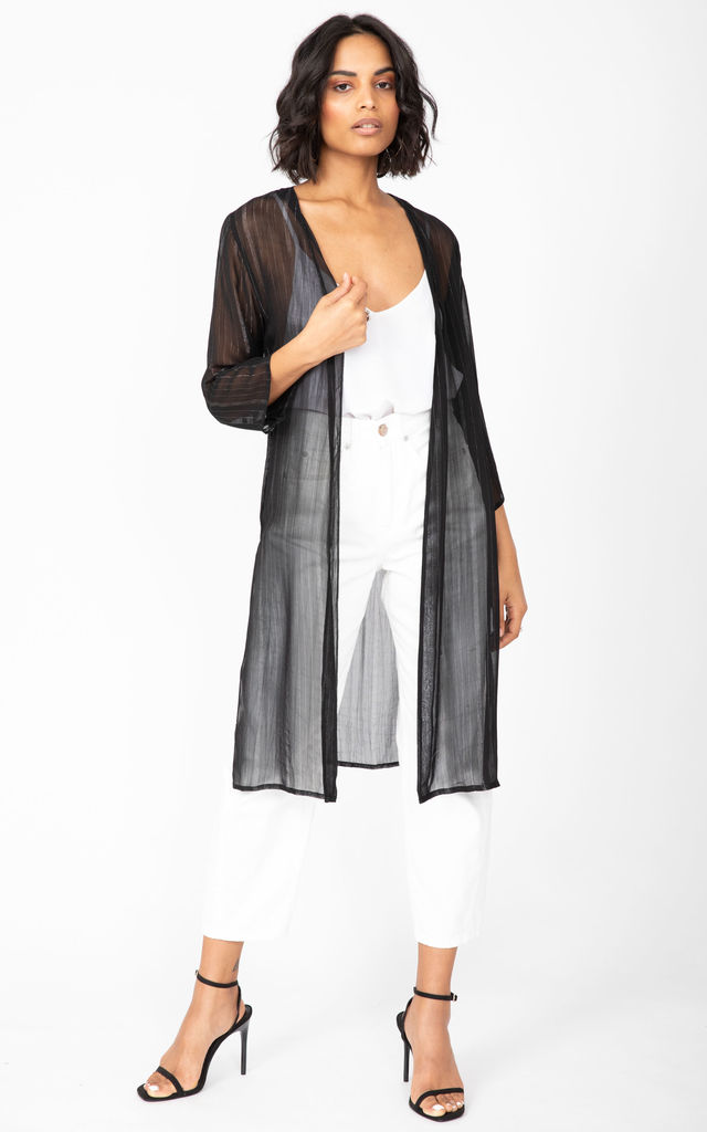 Kimono Cover Up in Sheer Black with Silver Sparkle by likemary