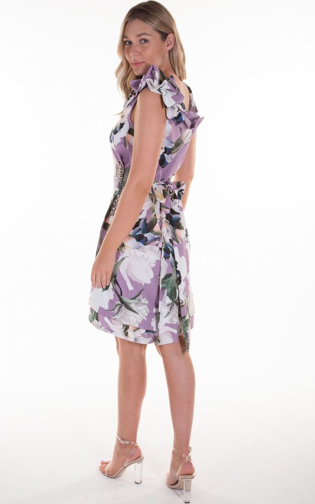 Lilac Floral and Leopard Print Anna Dress by Blonde And Wise