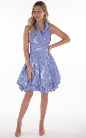 Blue Ocean Rose Trench Wrap Dress by Blonde And Wise
