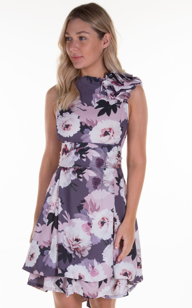 Grape Compote Floral Mia Mini Dress by Blonde And Wise