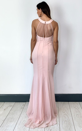Blush Pink Maxi Dress with Embellished High Neckline by Goddiva
