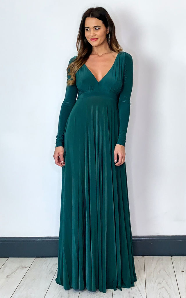 Plunge Neck Pleated Maxi Dress in Botanical Green by Goddiva
