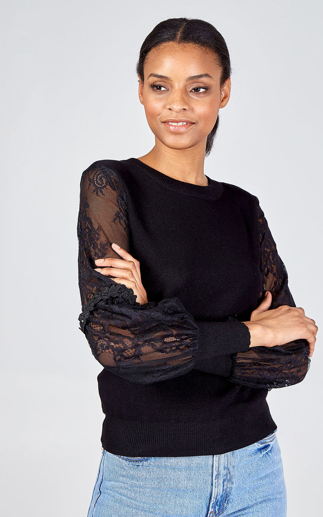 HEATHER Lace Balloon Sleeve Daisies Top - Black by Blue Vanilla