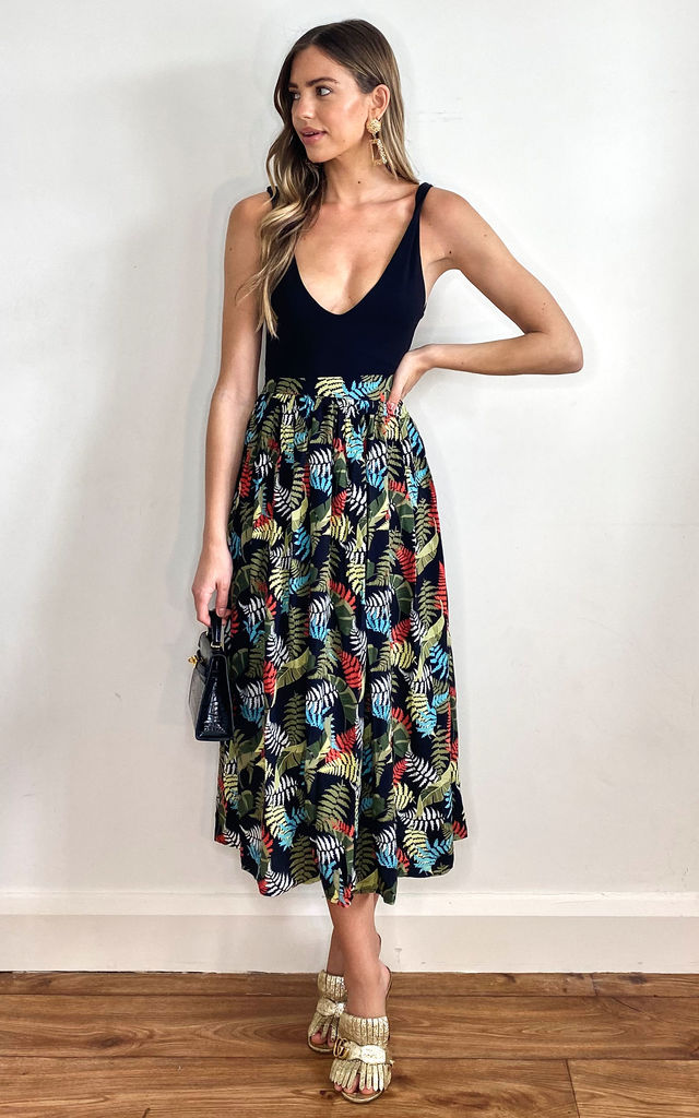 Maria Tropical Palm Midi Skirt (Multi) by Bright & Beautiful