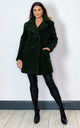 Janine Teddy Coat in Olive With Double Breasted Fit by De La Creme Fashions