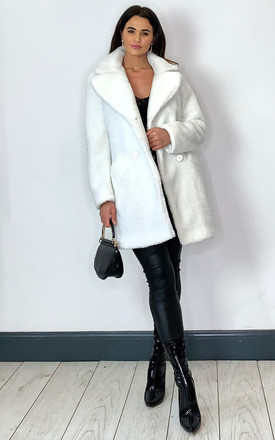 Janine Teddy Coat in White With Double Breasted Fit by De La Creme Fashions